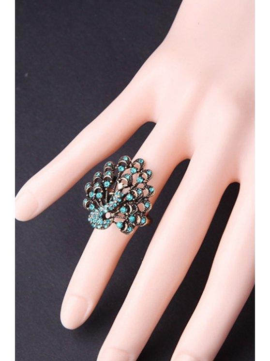 Rhinestone Peacock Ring Shape - Tiffany Bleu