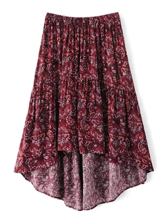 sale Paisley Print High Low Midi Skirt - PURPLE M
