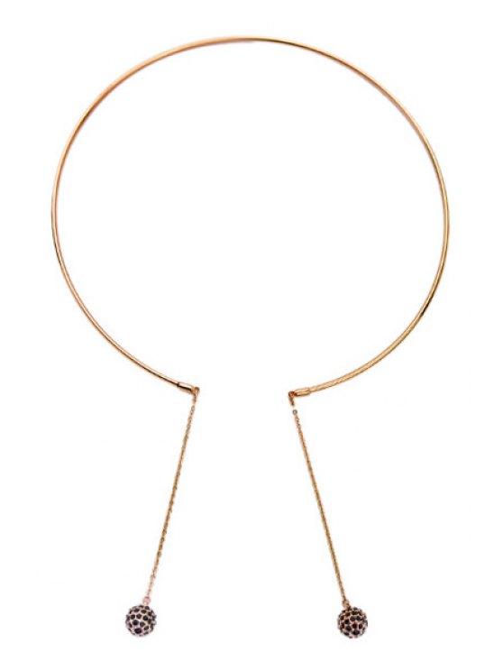 Collar pendiente de la pequeña bola negro de imitación de la gema - Dorado