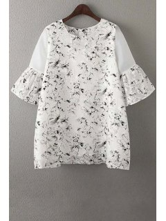 Collier Organza Spliced ronde Manches Robe à Imprimé Fleurs - Blanc M