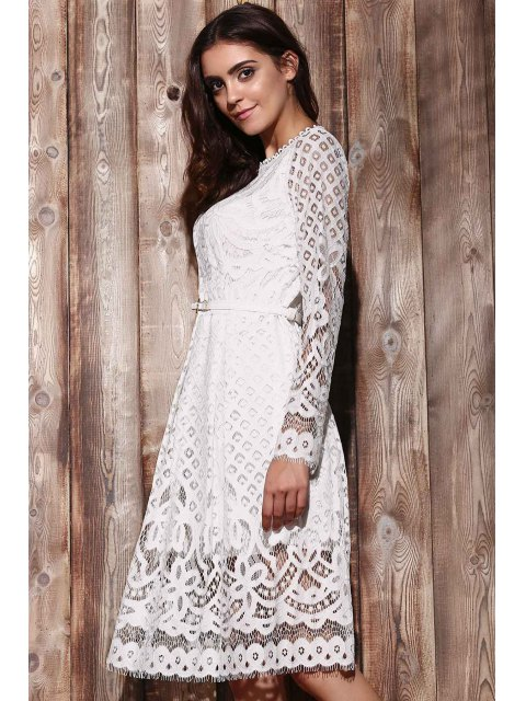 affordable Lace Round Neck Long Sleeve A Line Dress - WHITE XL Mobile