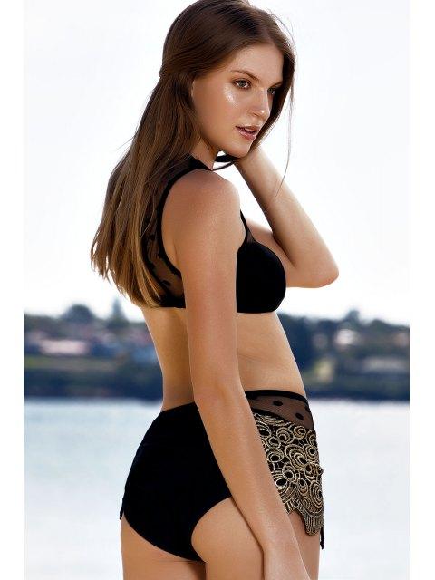 shop Mesh Panel Dotted Bikini Set - BLACK XL Mobile
