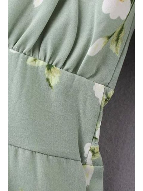 fashion Flower Print Green Playsuit - GREEN S Mobile