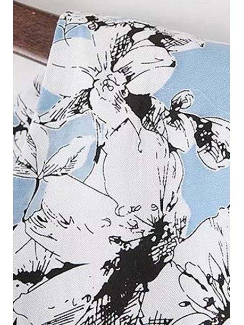 ladies Organza Spliced Sleeve Round Collar Floral Print Dress - LIGHT BLUE M Mobile