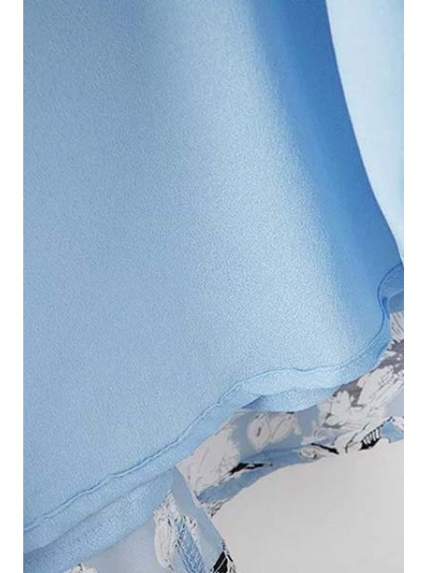 lady Organza Spliced Sleeve Round Collar Floral Print Dress - LIGHT BLUE L Mobile