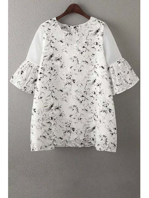 best Organza Spliced Sleeve Round Collar Floral Print Dress - WHITE S Mobile