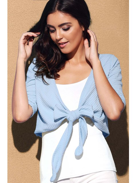 chic Cross Tied Solid Color Plunging Neck Short Sleeve Blouse - BLUE M Mobile