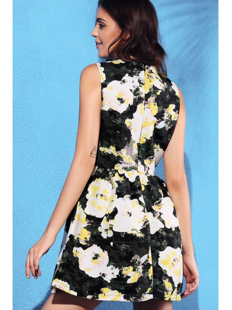 affordable Yellow Floral Print Round Neck Sleeveless Dress - LIGHT YELLOW M Mobile