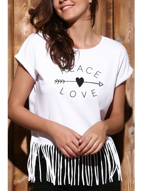 unique Letter Tassels Scoop Neck Short Sleeve T-Shirt - WHITE L Mobile