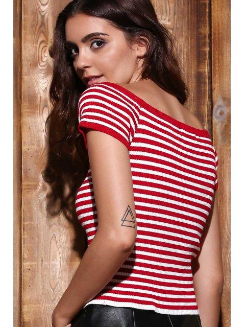 shops Slash Neck Striped Knit T-Shirt - RED S Mobile