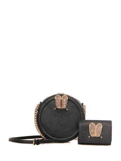 Paillettes oreille de lapin Porte-Sac bandoulière - Noir  Mobile