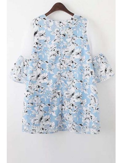 Organza Spliced Sleeve Round Collar Floral Print Dress - LIGHT BLUE S Mobile