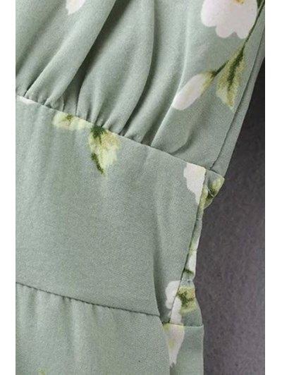 Flower Print Green Playsuit - GREEN S Mobile