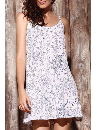 Ethnic Print Cami Dress - Light Blue