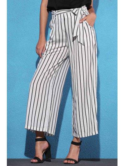 Side Knot Stripe Wide Leg Pants - White M