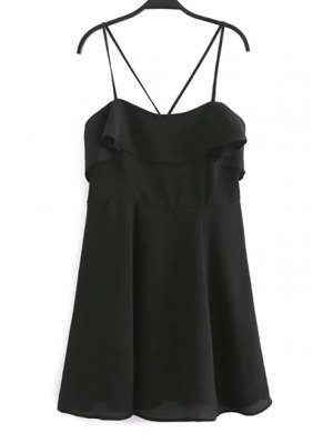 Backless Spaghetti Straps Flouncing Dress - Black