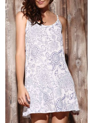 Ethnic Print Cami Dress - Light Blue