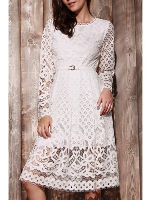 Lace Round Neck Long Sleeve A Line Dress - White