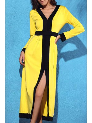 Front Slit V-Neck Long Sleeve Cut Out Maxi Dress - Yellow