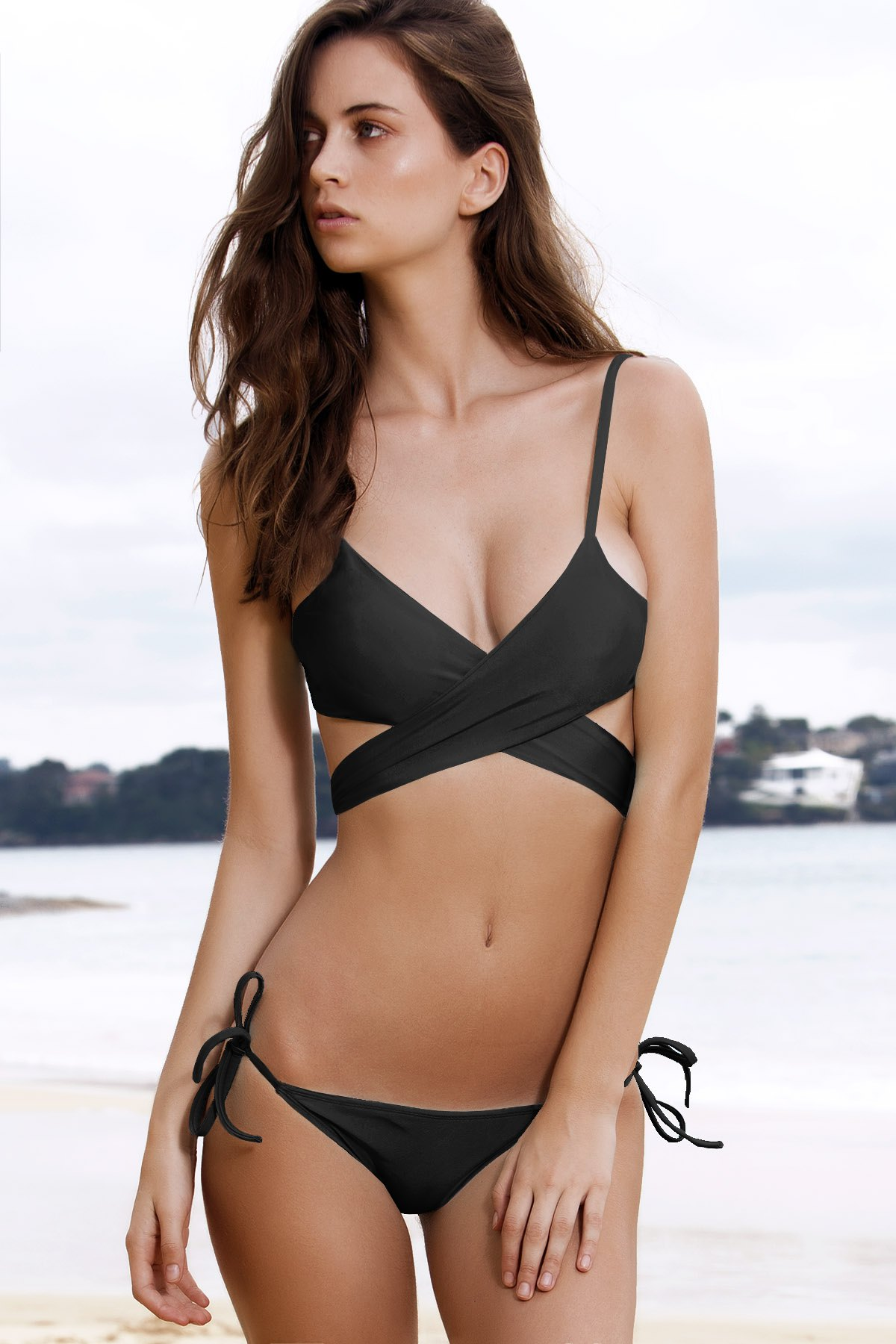 Crossed Solid Color Bikini Set - BLACK S