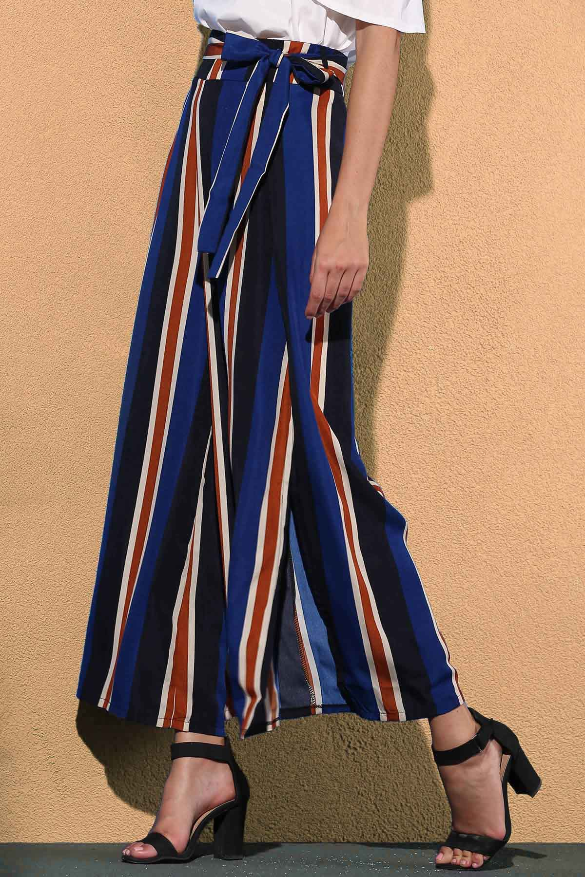 High Waist Striped Color Block Wide Leg Pant