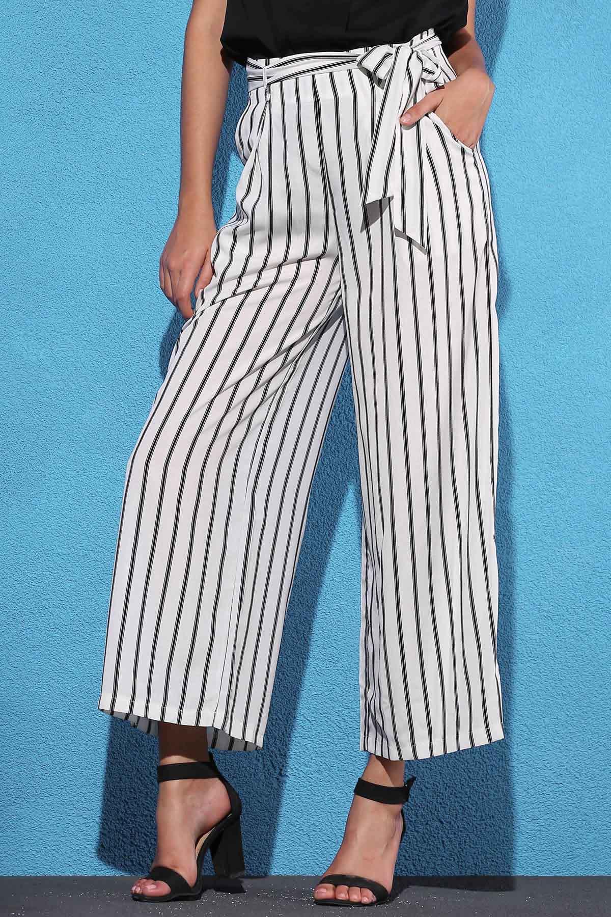 High Waist Stripe Wide Leg Pants