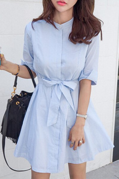 Stand Neck Half Sleeve Blue Stripe Dress