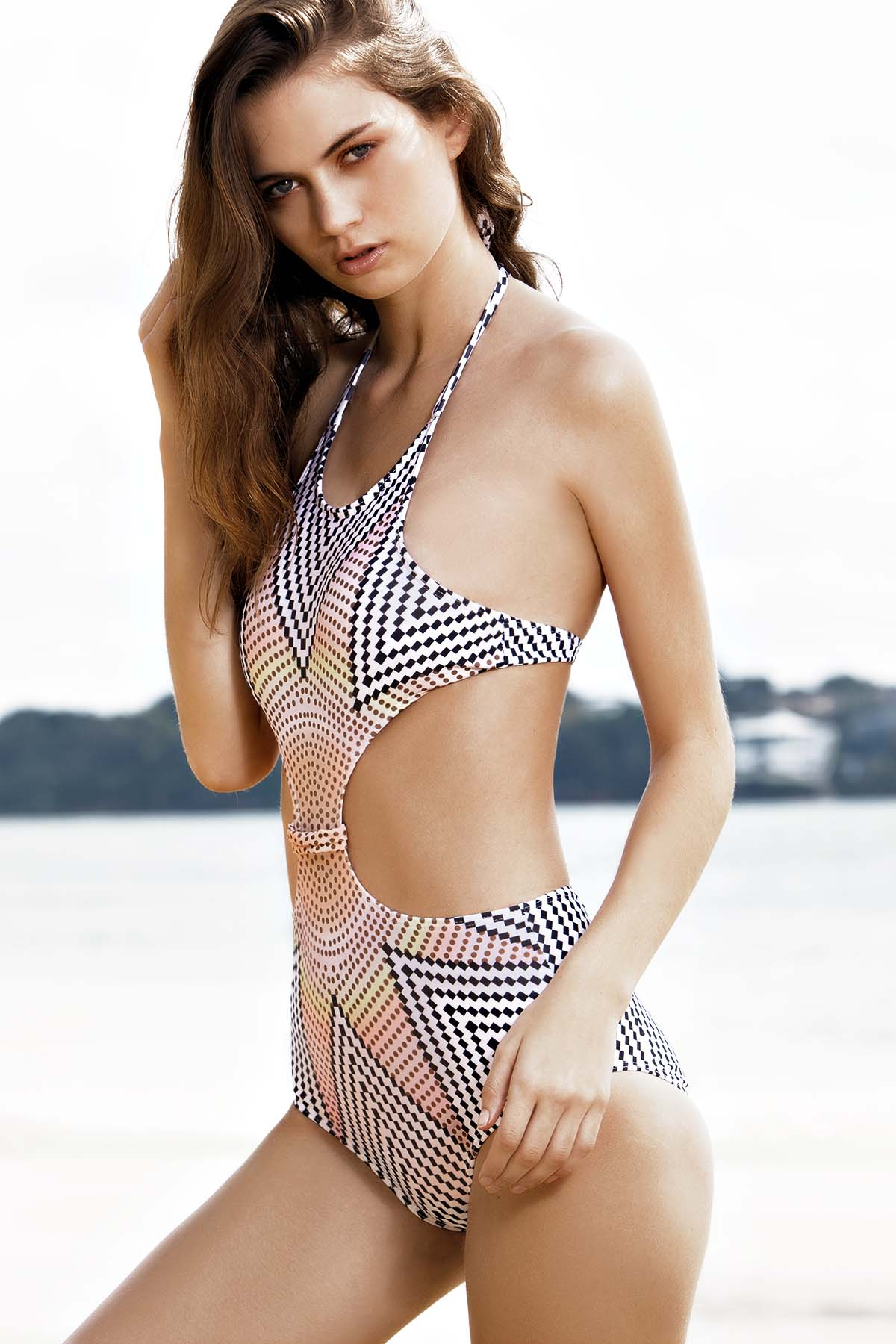 High-Neck Stripe High-Waisted Swimwear
