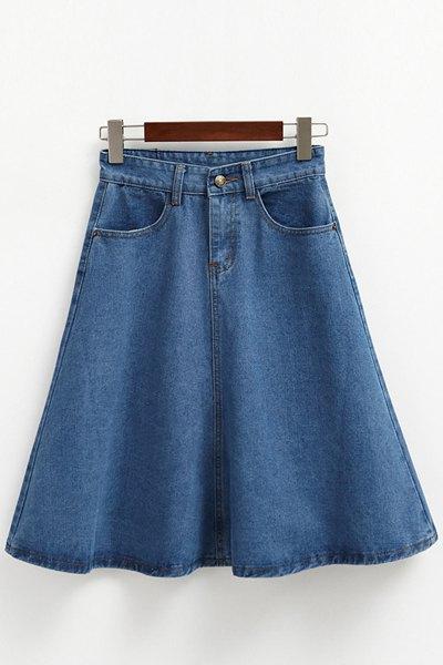 Blue High Waist Denim Midi Skirt
