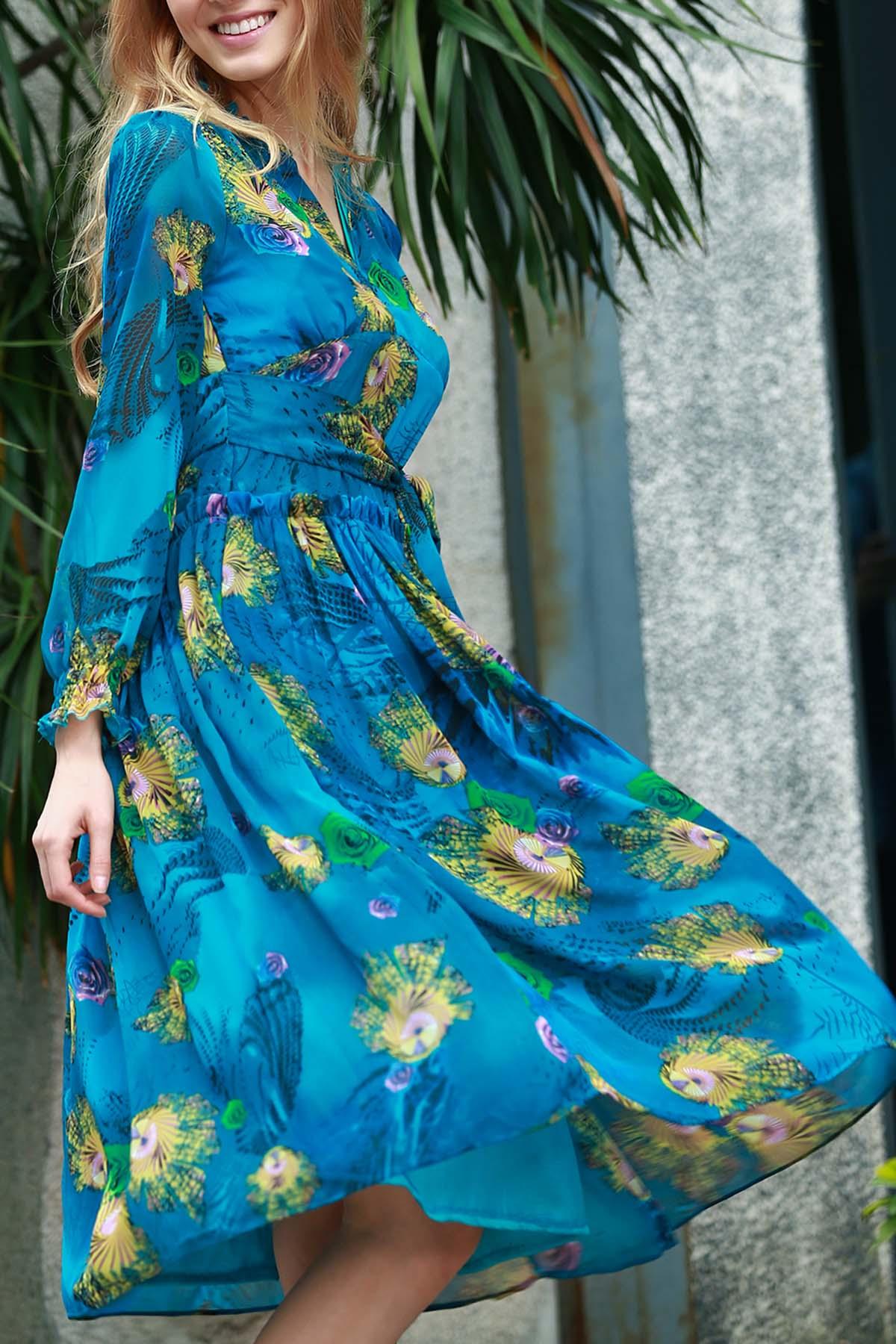 Long Sleeve Waisted Midi Dress