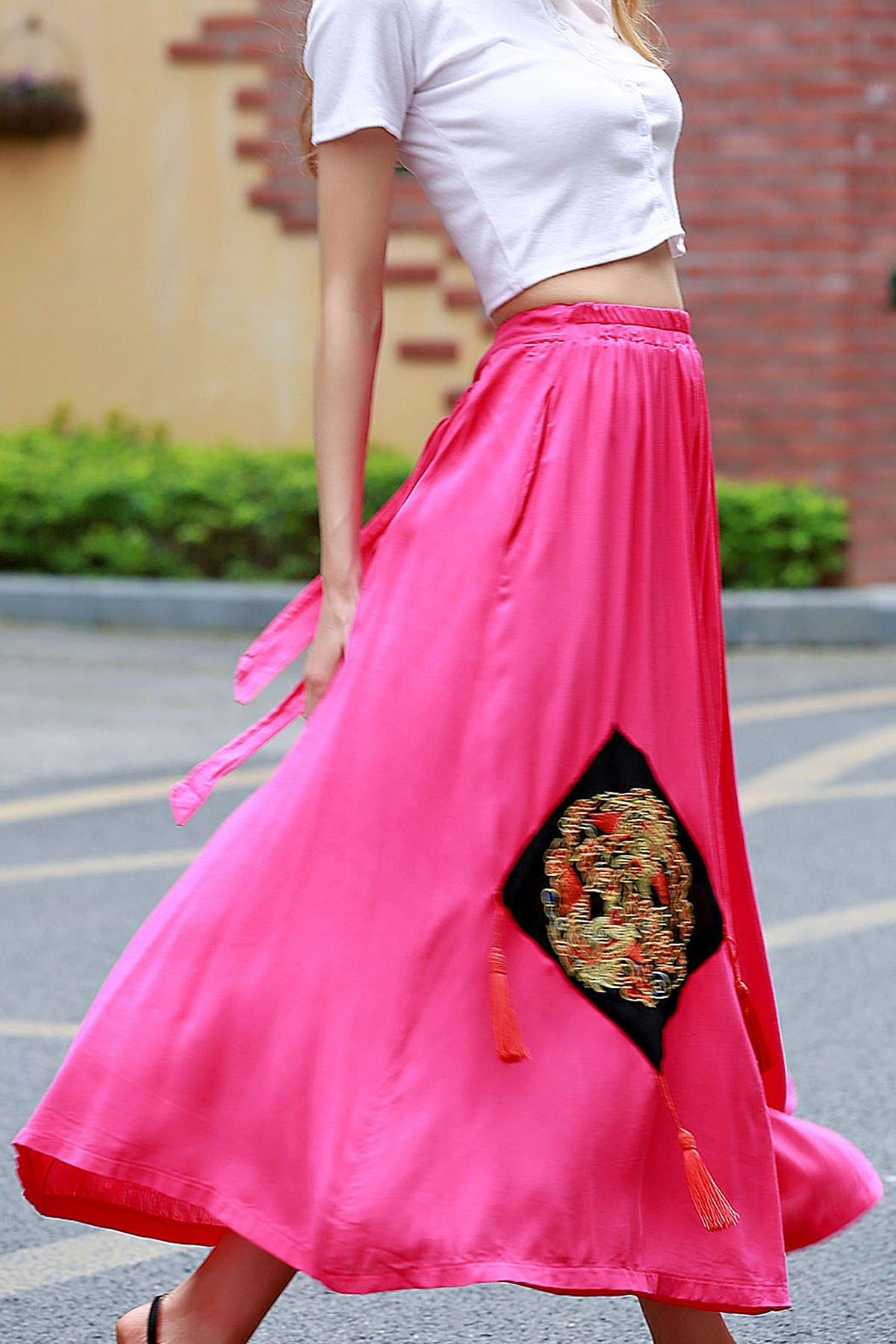 Appliqued Midi Ethnic Skirt