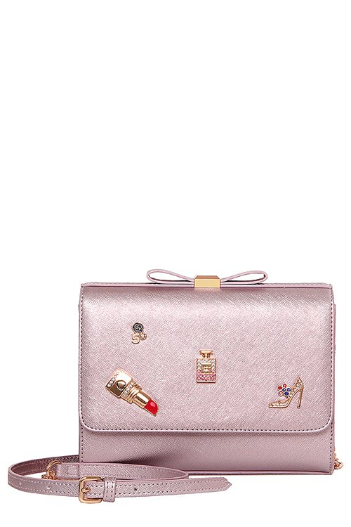 Bowknot Lipstick PU Leather Crossbody Bag