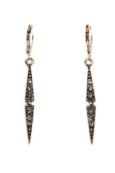 Rhinestone Small Triangle Pendant Earrings For Women