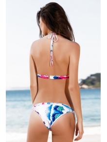 Halter Flower Print Bikini Set - WATER RED S