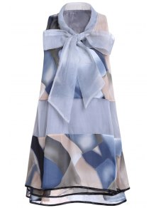 Printed Voile Spliced Stand Neck Sleeveless Dress