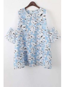Organza Spliced Sleeve Round Collar Floral Print Dress