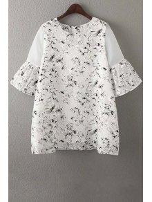 Organza Spliced Sleeve Round Collar Floral Print Dress - White