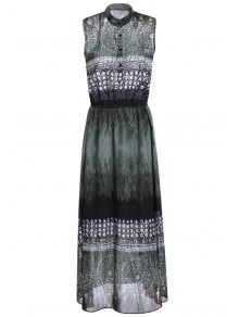 Ethnic Style Printed Stand Neck Sleeveless Dress