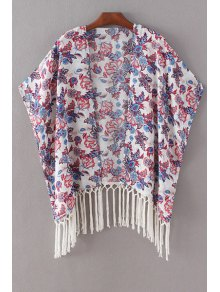 Buy Printed Batwing Sleeve Tassels Spliced Cape Blouse - WHITE L
