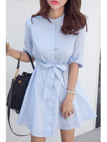 Blue Stripe Stand Neck Half Sleeve Dress