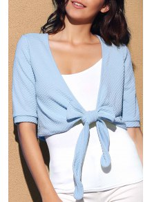 Cross Tied Solid Color Plunging Neck Short Sleeve Blouse