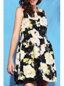 Yellow Floral Print Round Neck Sleeveless Dress