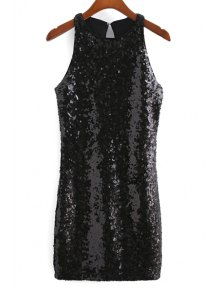 Sequins Round Collar Sleeveless Back Cut Out Dress - Black M