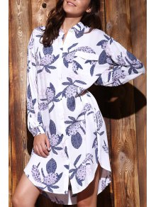 Long Sleeve Printed Shirt Dress