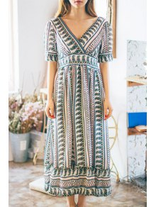 Ethnic Print V-Neck Short Sleeve Maxi Dress