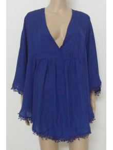 Blue Plunging Neck Fringe Blouse - Blue M