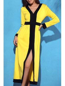 Front Slit V-Neck Long Sleeve Cut Out Maxi Dress - Yellow S