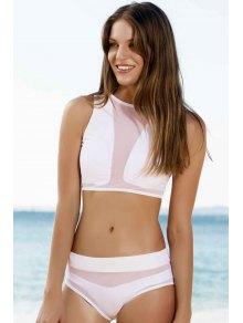 Mesh Design High-Waisted Transparent Swimsuit