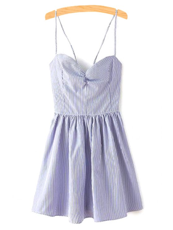 womens Fitting Lace-Up Spaghetti Straps Sleeveless Dress - BLUE M