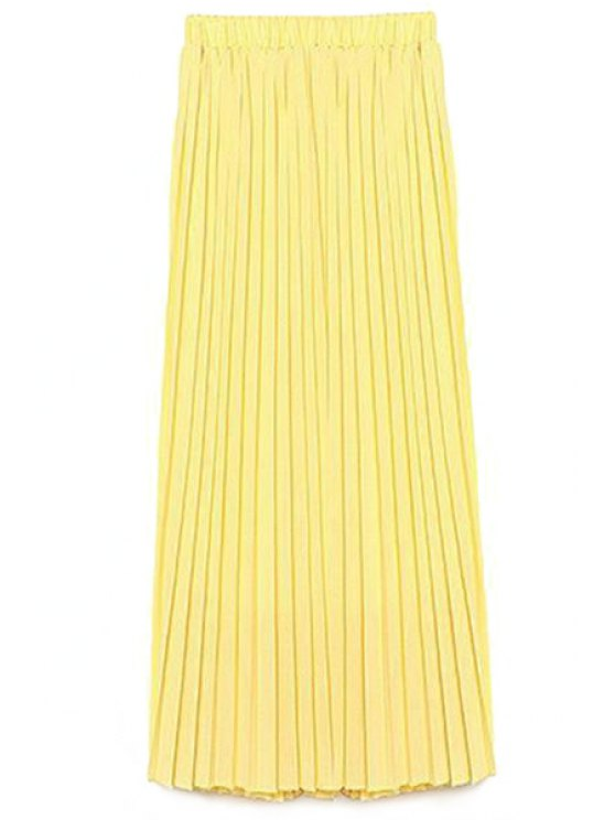 Color sólido de alta cintura una línea de Falda de gasa - Amarillo S